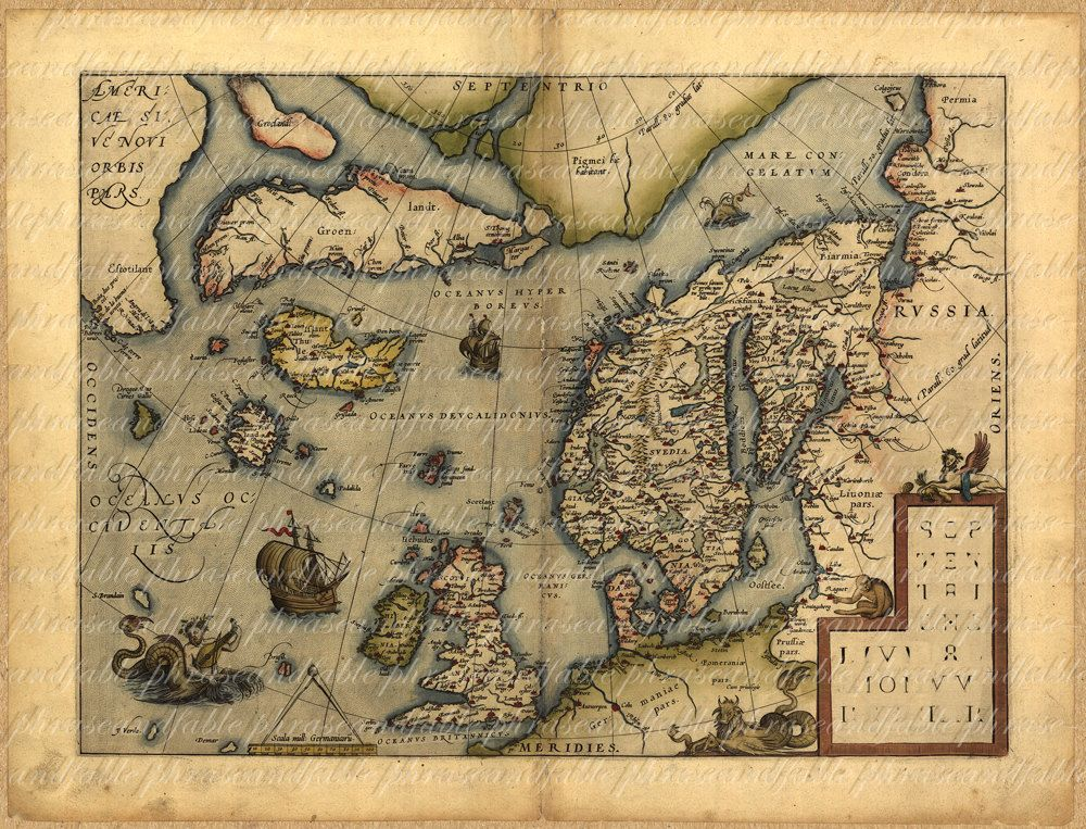 Royalty Free Map%0A Old map of the Nordic countries