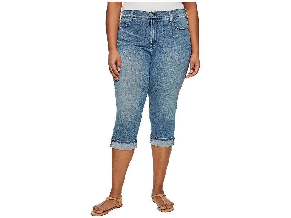 NYDJ Plus Size Plus Size Marilyn Crop Cuff in Pacific Pacific Womens Jeans Slimming straightleg crops from NYDJ Fivepocket crop has a high rise and straight leg Lift Tuck...