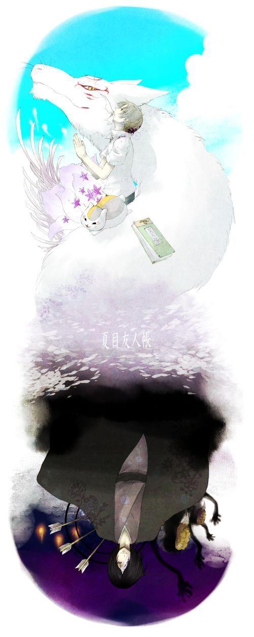 夏目友人帳夏目とニャンコ先生と斑の姿の壁紙
