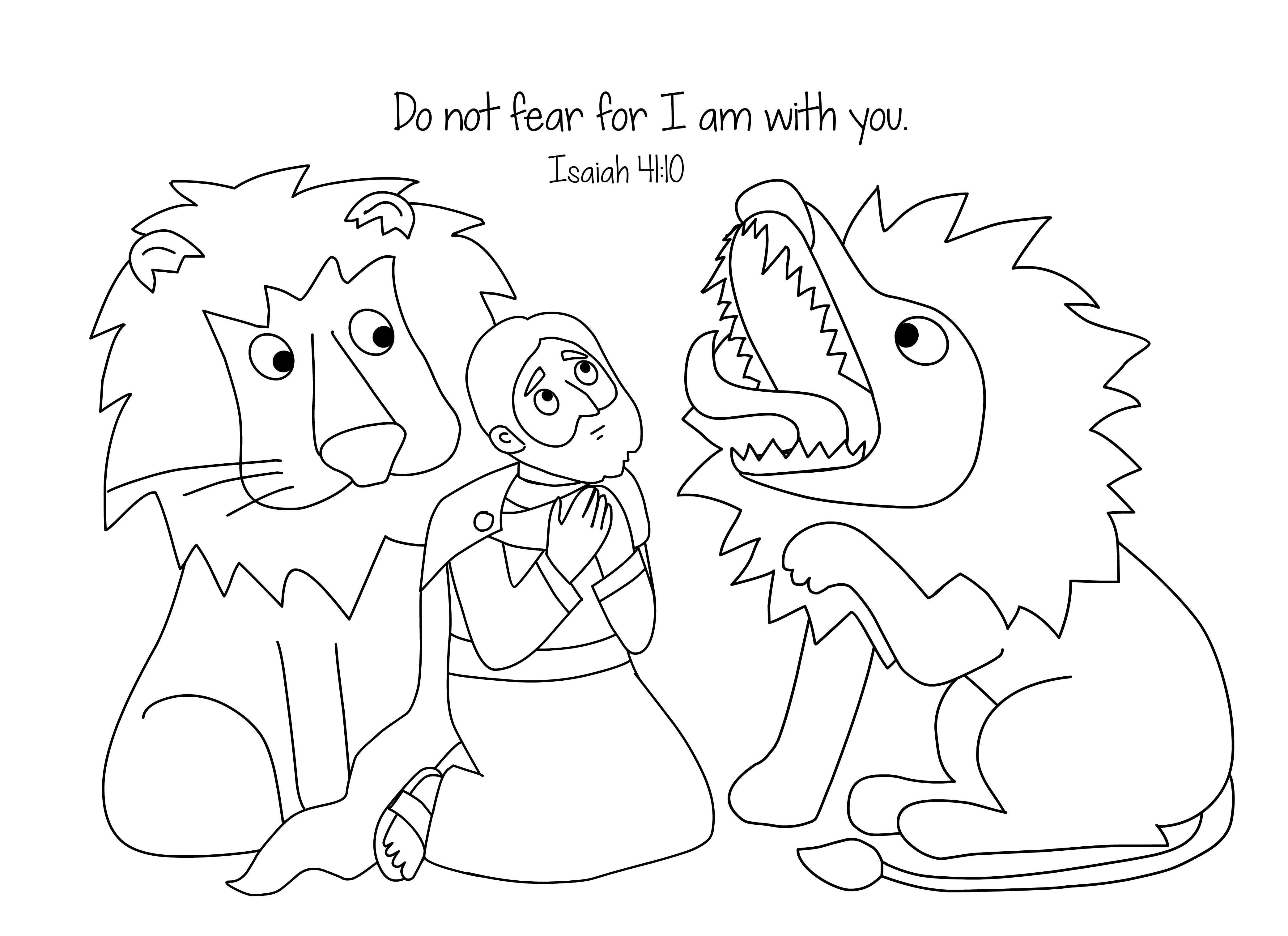 free bible coloring page daniel and the loins - Bible Story Coloring Pages Daniel