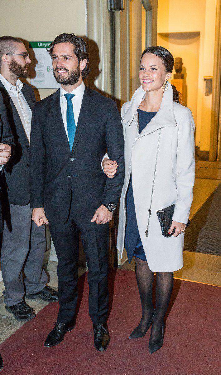 Prince Carl Philip and Sofia Hellqvist arrive at the Gustaf Vasa Church in Stockholm.