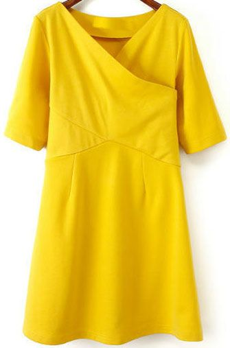 Yellow Cross Collar Half Sleeve Slim Dress - abaday.com