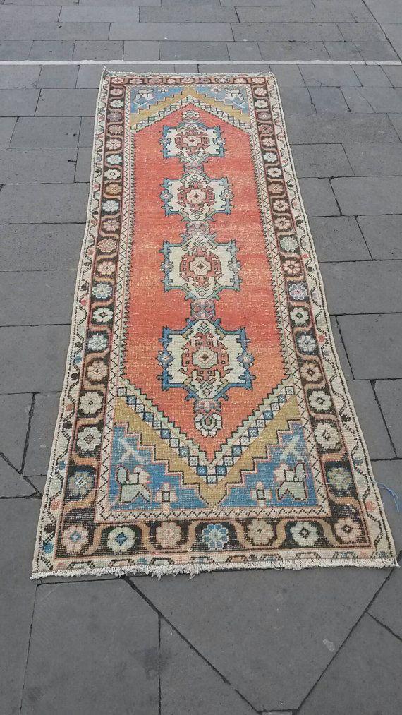 Runner, Runner Rug, Vintage Runner Rug, Oushak Runner Rug, Turkish Runner Rug, Home Living, Floor Rugs !Size : 93 cm x 290 cm - 3.1' x 9.7'.