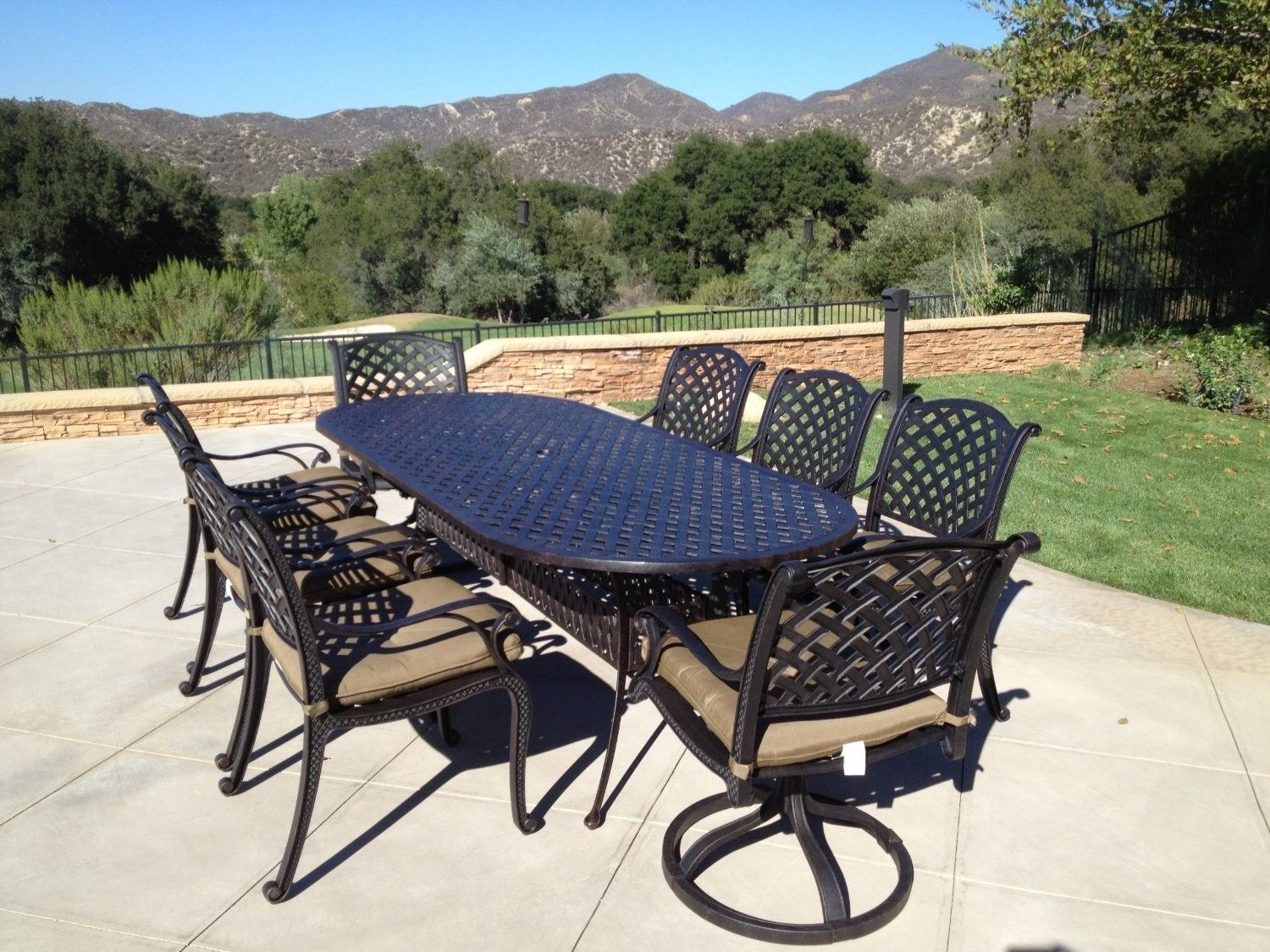 Nassau Cast Aluminum Powder Coated 9pc Outdoor Patio Set With 42 X102 Oval Table Antiq Outdoor Patio Set Luxury Outdoor Furniture Rattan Outdoor Furniture