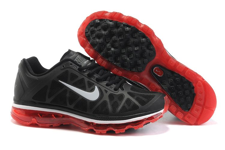 $46.98 Fake Mens Nike Air Max 2011 Black/Sport Red/Silver Sneakers