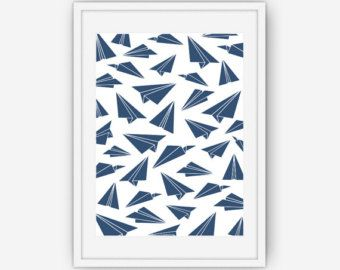 Paper Airplane Print, Navy Blue Paper Plane Print, Navy Blue Wall Art, Wall Art, Printable, Instant Download