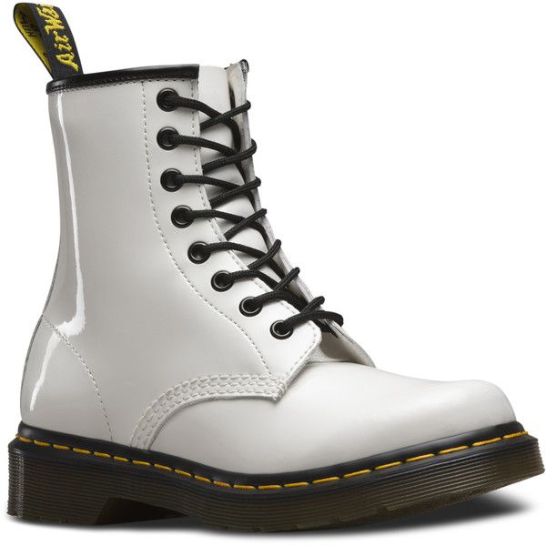 Dr. Martens 1460 Patent Short Lace-Up Low Boot (€110) ❤ liked on Polyvore featuring shoes, boots, ankle booties, white, short lace up boots, patent leather boots, white boots, white patent leather boots and patent leather booties