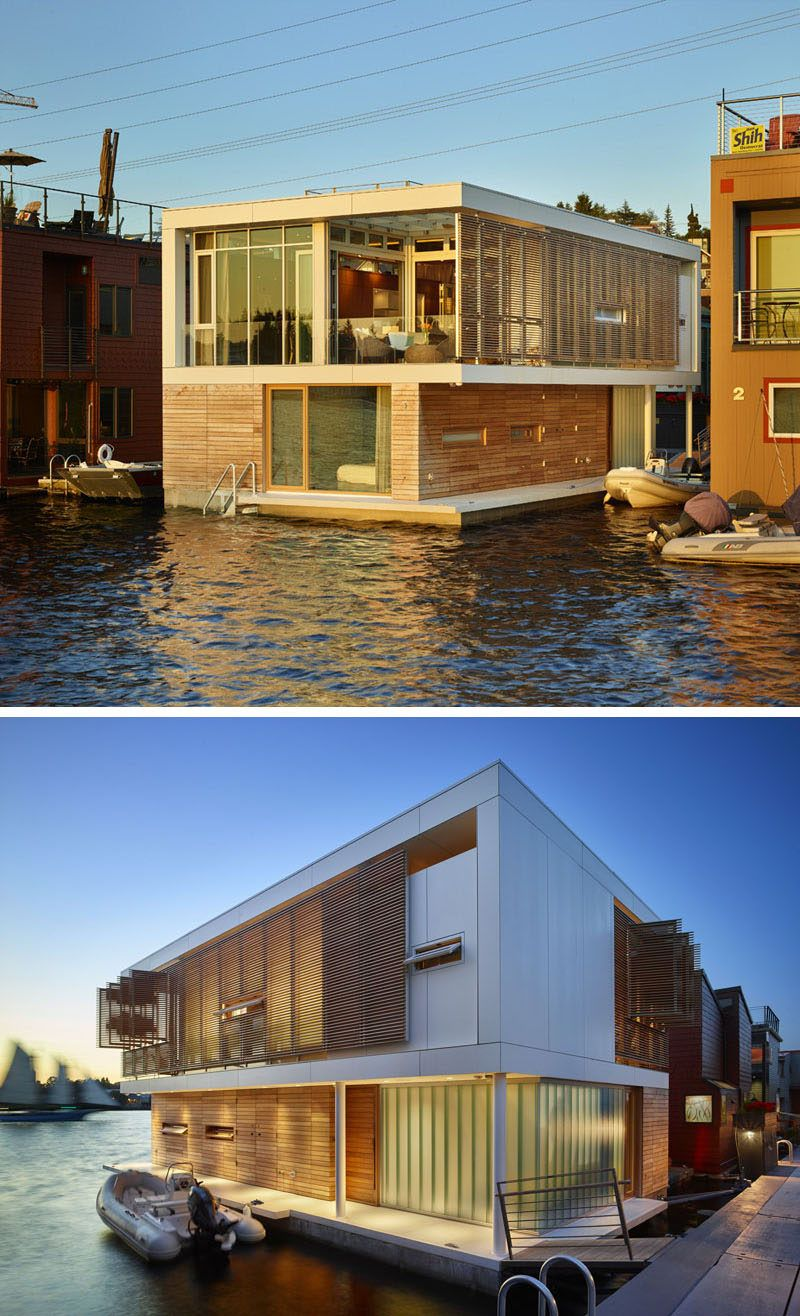 Designed by Vandeventer + Carlander Architects, this two storey modern floating home with views of Lake Union, has been constructed on concrete floats that are 24 feet wide by 44 feet long,