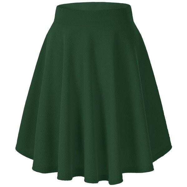 Women's Basic Solid Versatile Stretchy Flared Casual Mini Skater Skirt ($9.25) ❤ liked on Polyvore featuring skirts, mini skirts, mini flare skirt, mini skater skirt, skater skirt, flared mini skirt and flared hem skirt