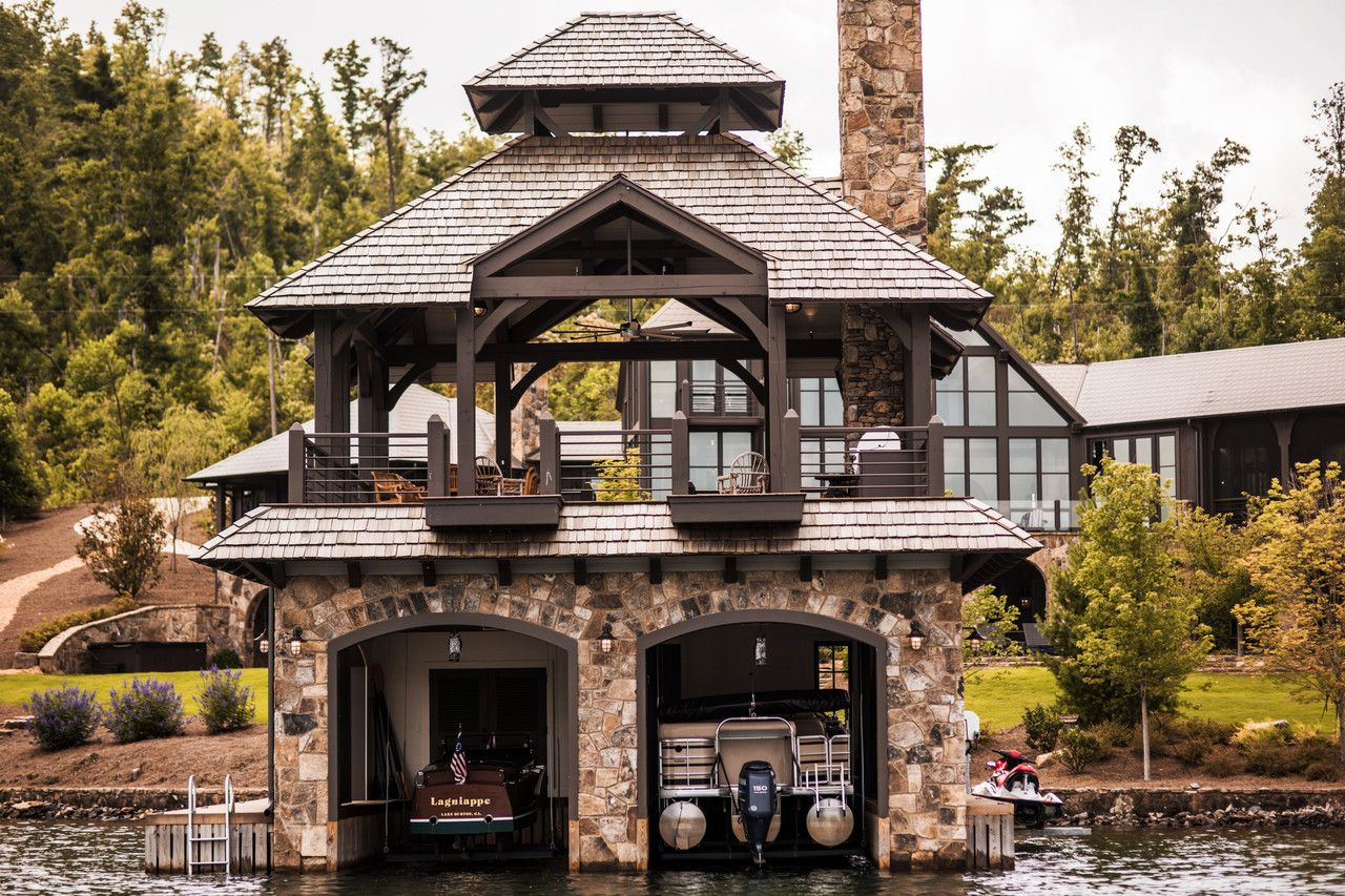 A New Wave Of Luxury Boathouses House Boat Lakefront Living Lake House