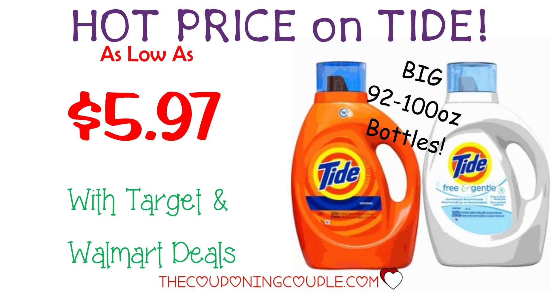 Tide Liquid Laundry Detergent As Low As 5 97 For Big Bottles At Walmart And Target Laundry Liquid Liquid Laundry Detergent Liquid Tide
