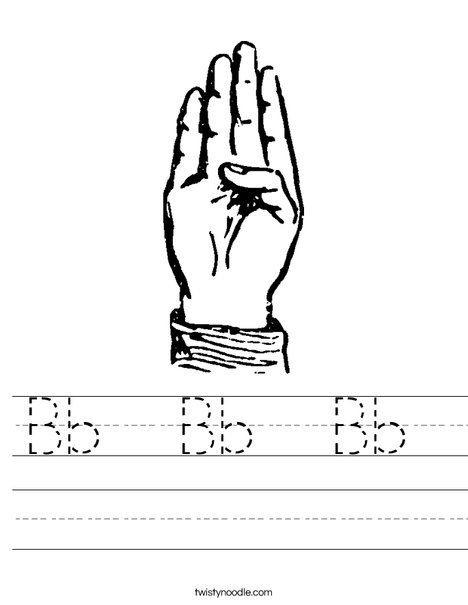 Sign Language Letter B Worksheet Customizable Worksheets Yippie