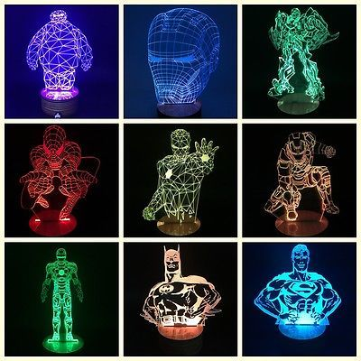 Marvel The Avengers 3d Illusion Superhero Color Changing Dc Table Desk Lamp Avengers Bedroom Decor 3d Illusions 3d Led Lamp