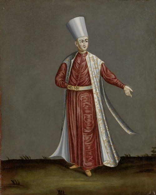 The Kapısı Ağası (Ak Ağa), or chief of the white eunuchs. Ottoman Illustrations from: Paintings by Jean-Baptiste Vanmour (Van Mour), 1671-1737