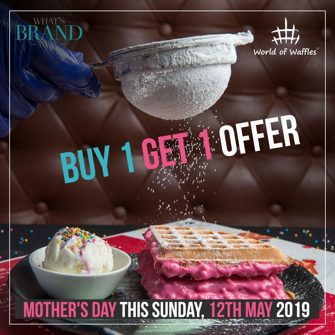 Mother's Day Celebrations at World Of Waffles * Buy 1 Get 1 Offer *  This make your Mother feel  like the queen at and convey how thankful and blessed you are to have her.  Because mother is your single most favorite woman in the world! . This Sunday, 12th May'19.  Location: Jayanagar, Bengaluru.