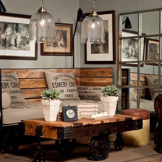 Casas rústico chic \u2022Sweet Home\u2022 Pinterest Industrial chic - industrial chic wohnzimmer