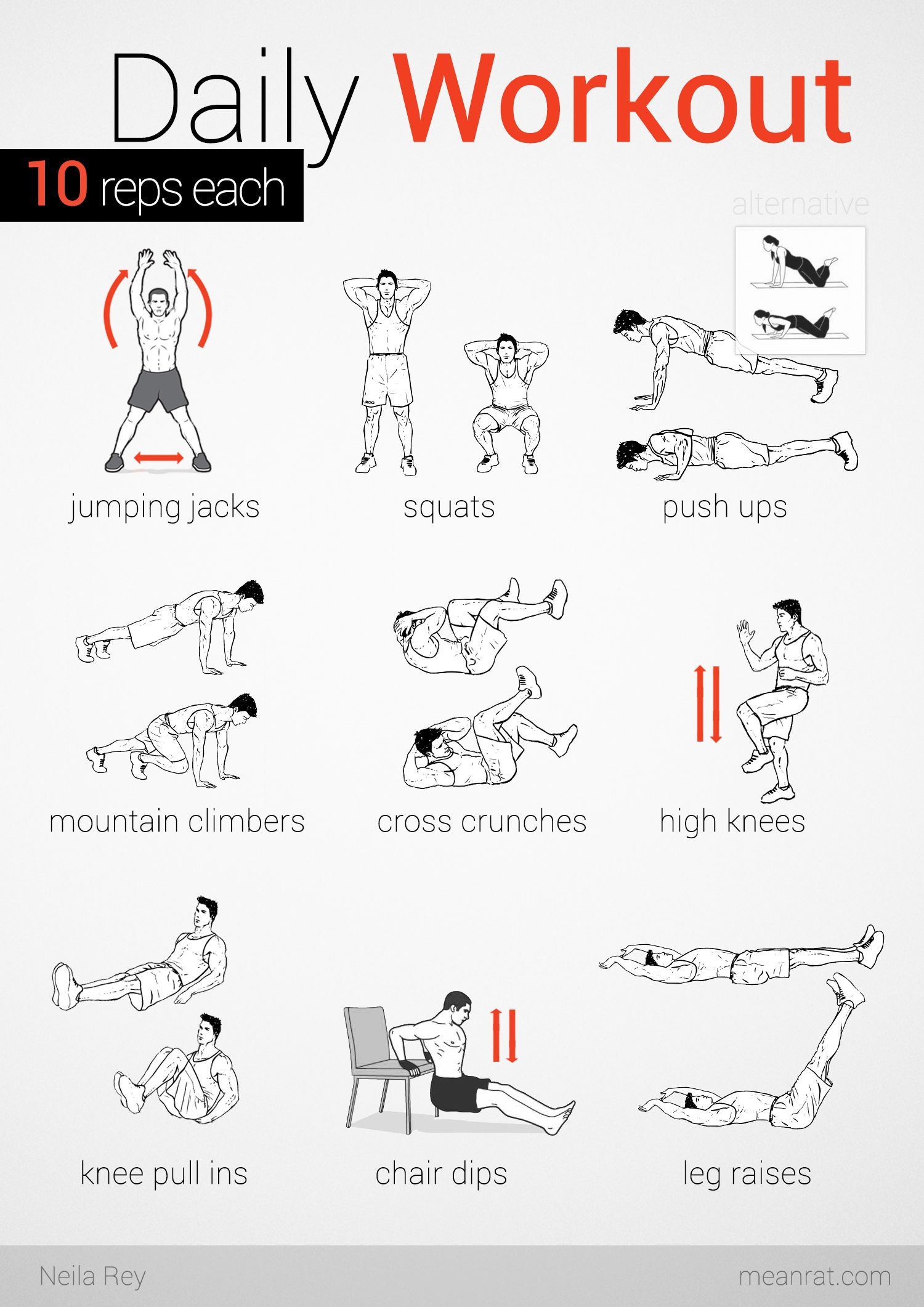 Easy Daily Workout. (9 exercises) * (10 reps each) = 90 reps It is a  perfect workout to start & end the day.