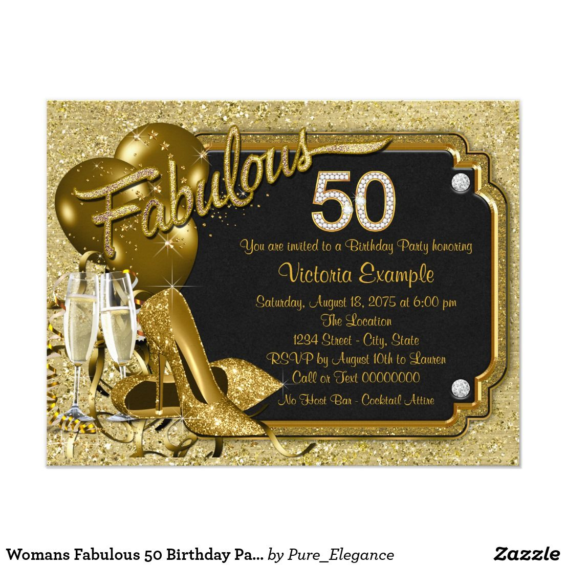 Womans Fabulous 50 Birthday Party Card | 50 birthday parties, 50th ...