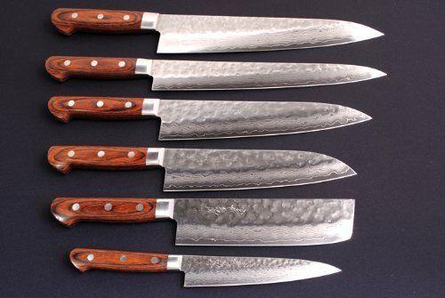 yoshihiro hammered damascus chef knife 6pc set made in japan by yoshihiro - Chef Knives Set