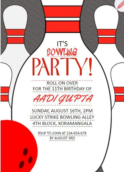 Its Bowling Party Kids 11th Birthday Invitation Grouptable