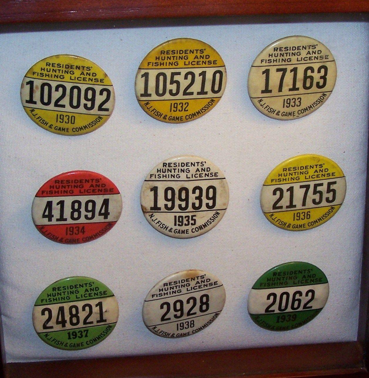 1930 S Nj Resident Fishing License Badges Fish Resident