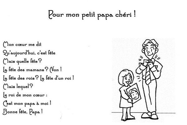 Bonne Fête Papa Fete Des Pères Maternelle Poème Fête Des