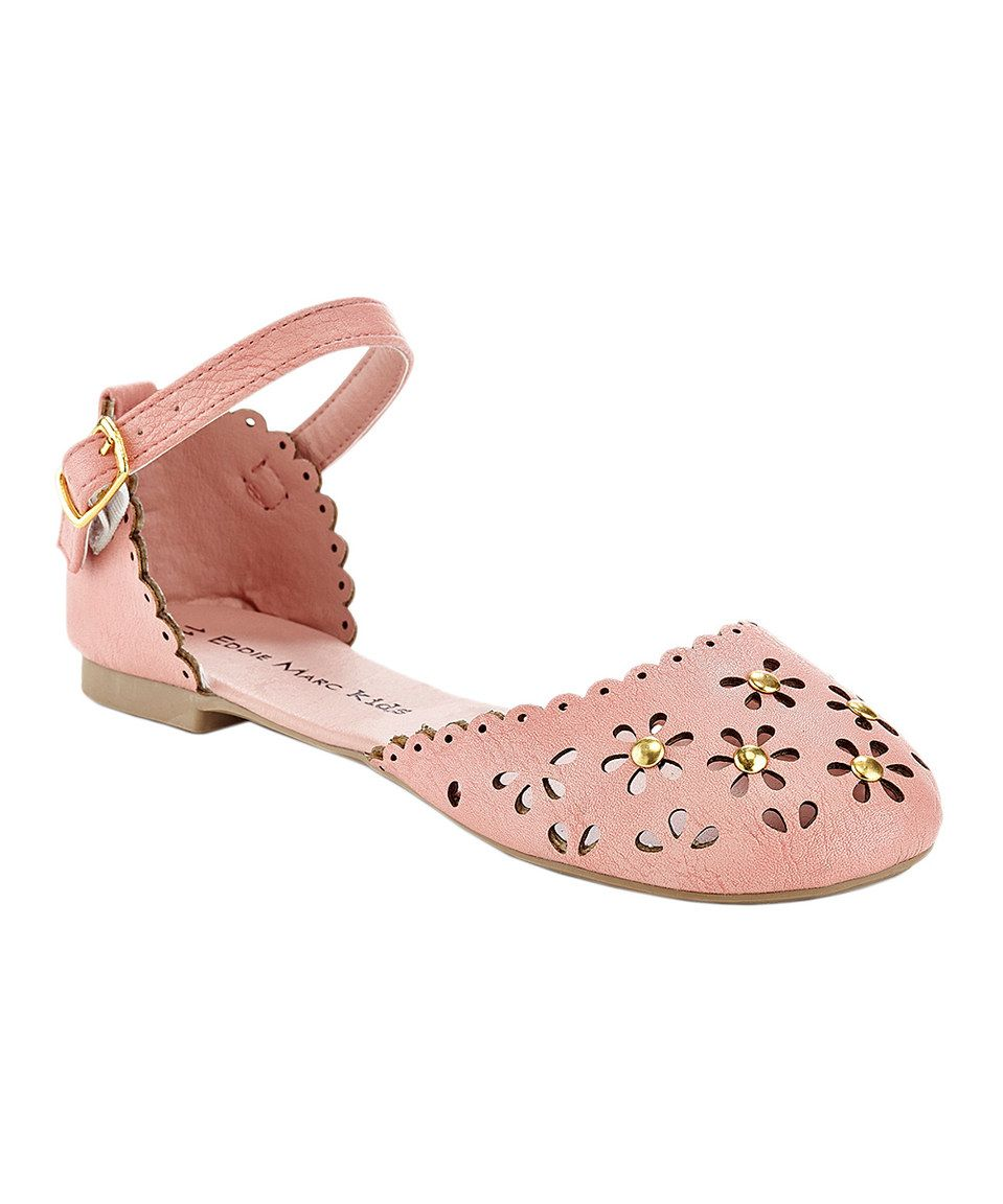 Eddie Marc Kids Coral Flower Cutout Ankle-Strap Flat by Eddie Marc Kids #zulily #zulilyfinds