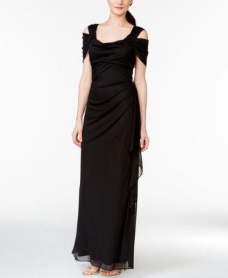 ff3e4e85580 R   M Richards Cold-Shoulder Draped Gown - Dresses - Women - Macy s ...
