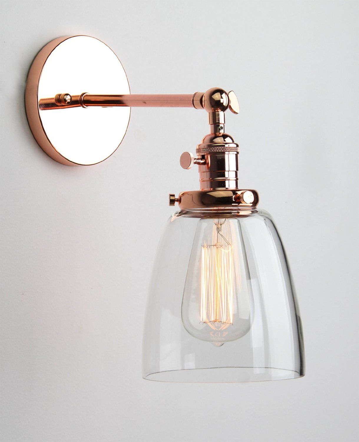Gold Wall Lampshades : Permo Industrial Edison Antique Single Sconce With Oval Cone Clear Glass Shade 1-light Wall ...
