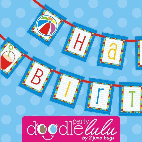 DIY Printable Pool Party Happy Birthday BANNER from DoodleLulu by 2 june bugs{ #printableparty #2jbdl #2jbdlpool }