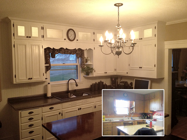Diy Refinished And Painted Cabinet Reviews: Kitchen Makeover, DIY Before And After; Refinished