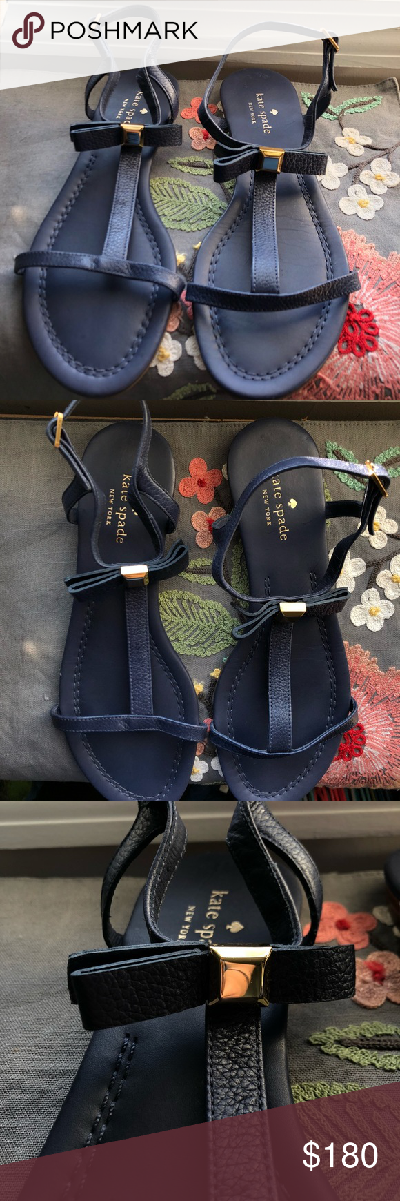 5b3d240383d7 Kate Spade Navy Leather Bow Tessa Sandals Kate spade new york sandal with leather  upper.