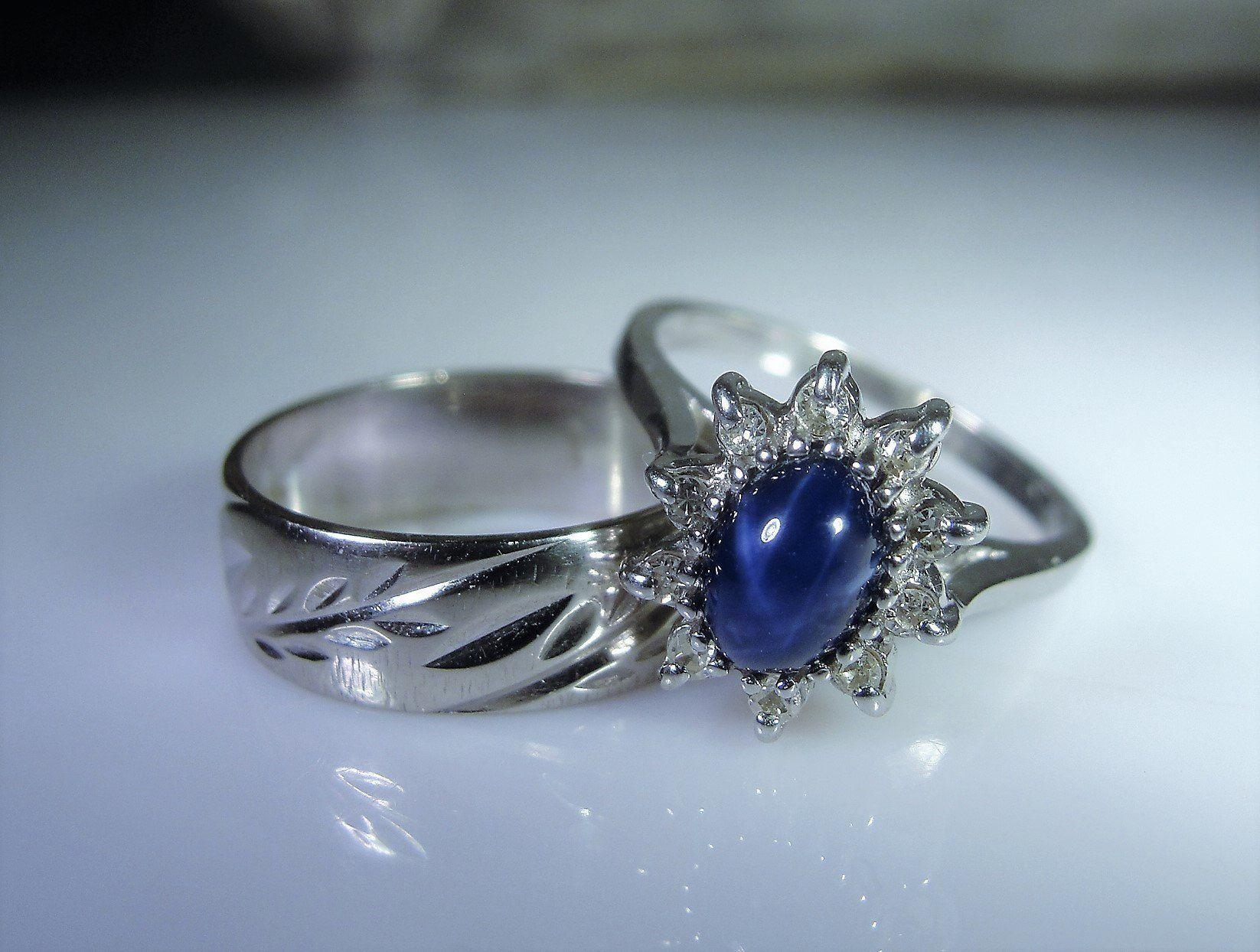 10K White Gold Lindy Blue Star Sapphire & Diamond Bridal