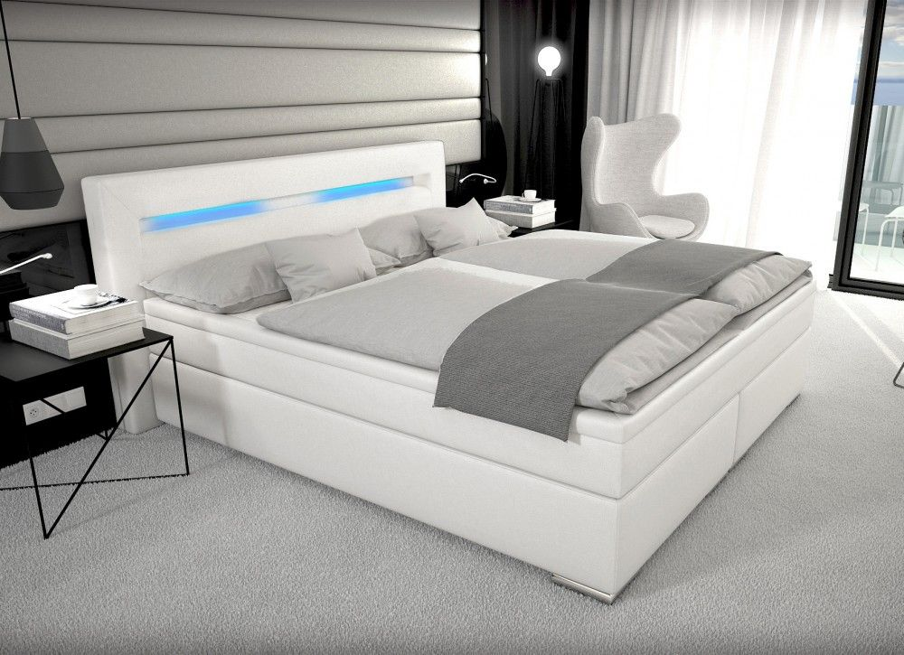 Boxspring bett weiß 160x200  Designer Boxspring Bett Paris mit Bettkasten + LED Beleuchtung ...