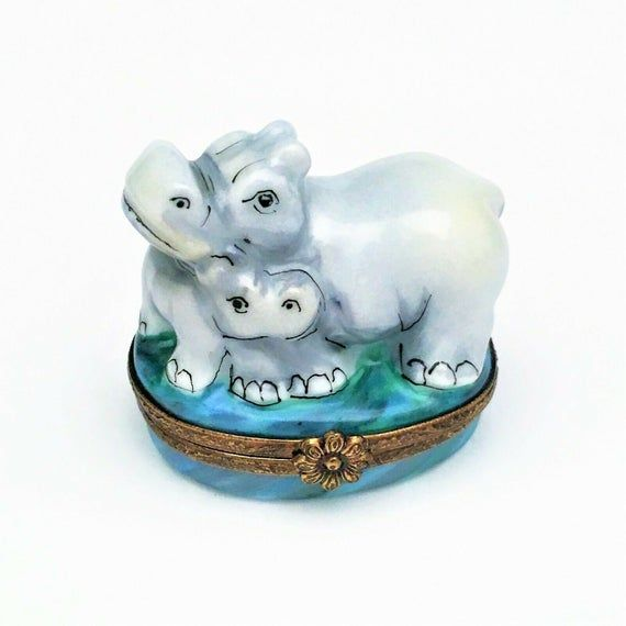 Retired Mother & Baby Hippo Limoges Box by French Home - #33/500 #babyhippo