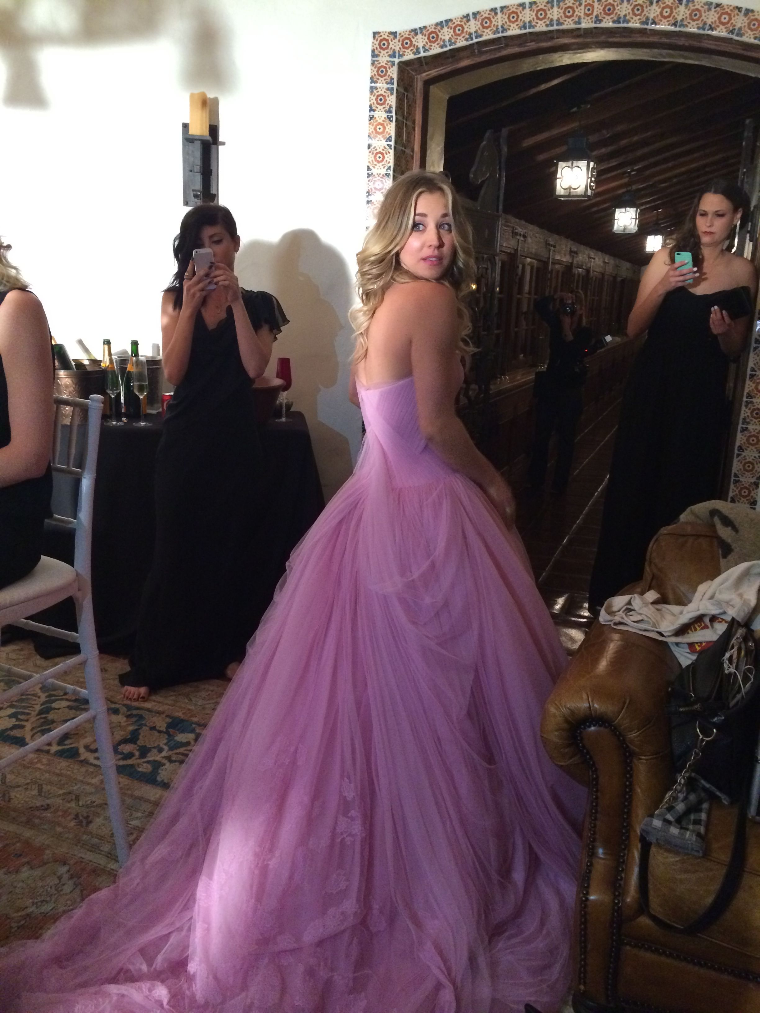 Vera wang red wedding dress  Caley cuoco wedding dress Love it Love this pink color  Dresses