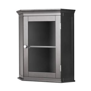 Elegant Home Fashions Wilshire 21 1 4 In Corner Wall Cabinet In Dark Espresso Hd176572 At The Home Depot Mobile Corner Wall Bathroom Wall Cabinets Lavatory Design