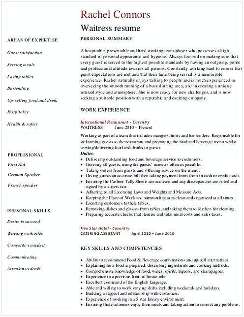 Restaurant Waitress Resume  Hotel And Restaurant Management