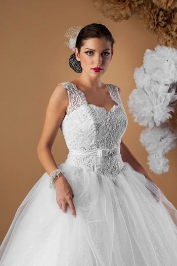 Suknia ślubna Typu Księżniczka Koronkowy Gorset Na Szerokich