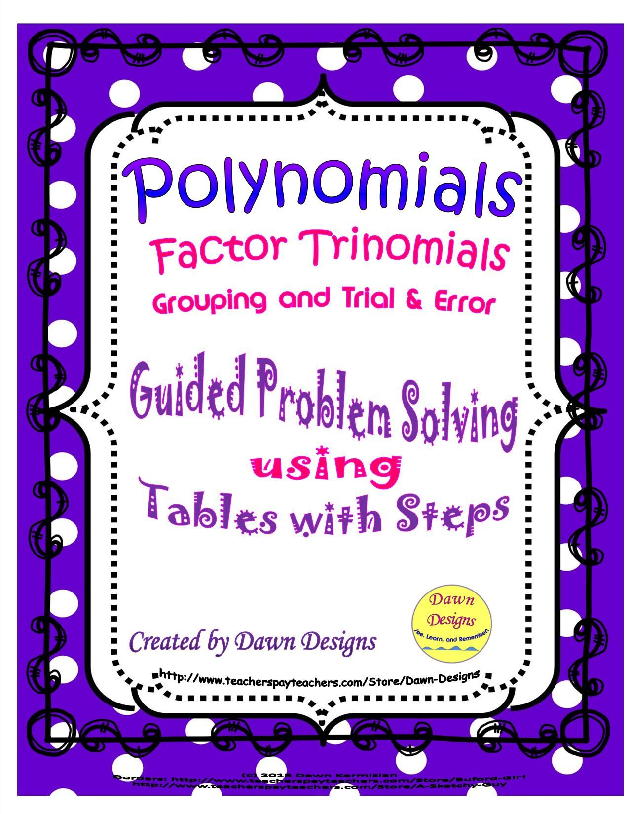 Polynomials Methods For Factoring Trinomials