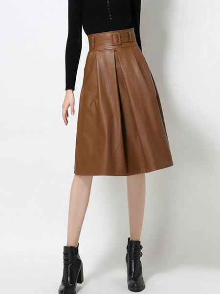 dcc54afbe5 Women's Skater Skirt PU Dark Brown High Waist Belted Pleated A-Line Flare  Skirt