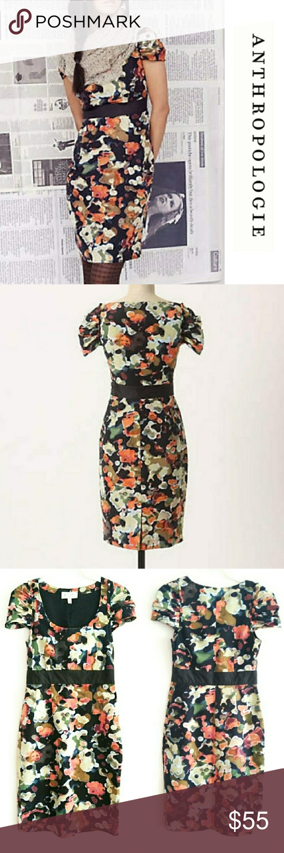 39949420ae7c8 🆕Anthro Pittore Silk Watercolor Floral Dress 0 Anthropologie Pittore Silk  Blend Dress. Beautiful Earthtone