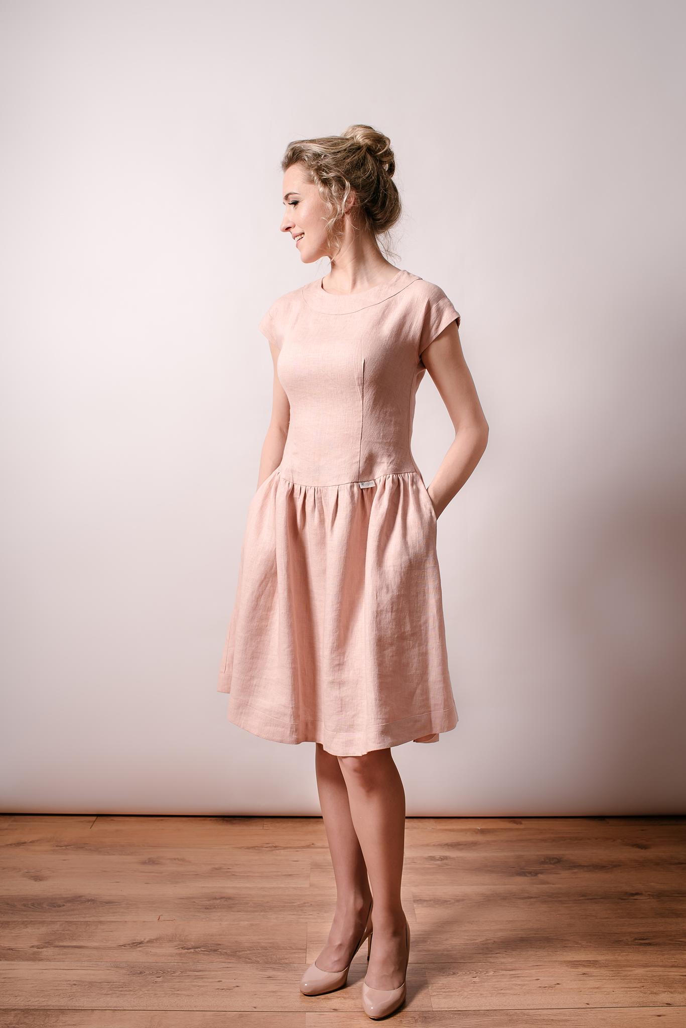 Linen ash rose dress/romantic dress/summer dress/tight fitting/short ...