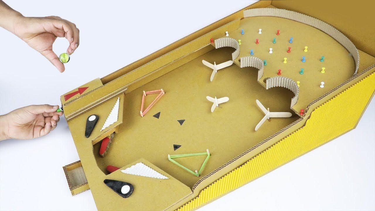 How To Make A Pinball Game Machine Using Cardboard Youtube Pinball Casero Casas De Juego Maquinas Simples Para Niños