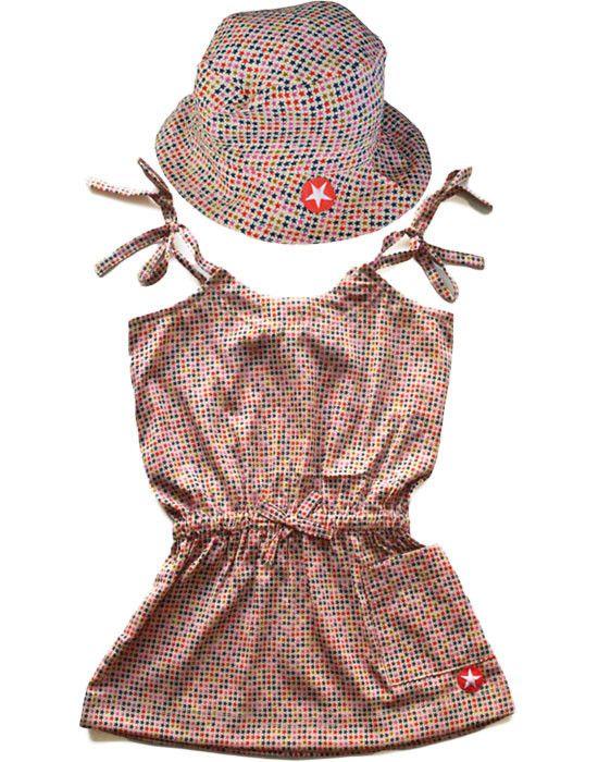 KIK-KID: cute girls dress and hat with woven star print