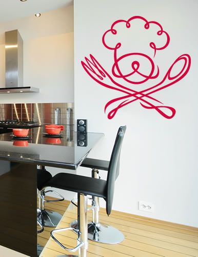 Chef With Fork And Spoon Wall Decal Safin Pinterest Wall - Wall stickers for dining roomdining room wall decals wall decal knife spoon fork wall decal