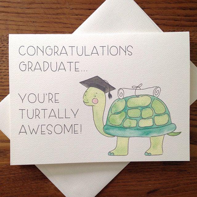 Photo of Graduation card. For Graduate. Congratulations Card. High School Grad. College Grad. Turtle Pun Card. Turtle Card. Blank Card. Congrats Card