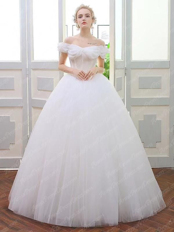 e53bf33be20 Romantic Wedding Dresses Off-the-shoulder Ball Gown Tulle Simple Bridal Gown  JKW231