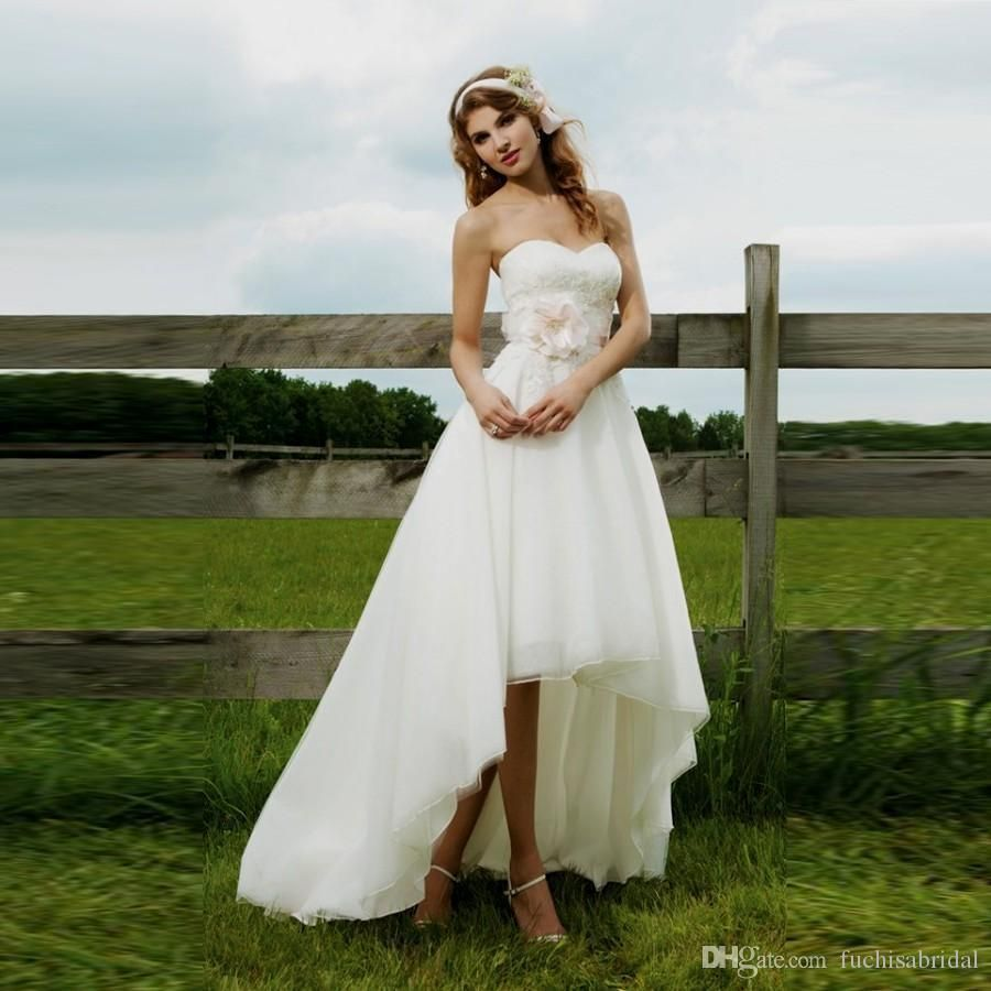 Sweetheart High Low Cowgirl Country Wedding Dress With Removable Flower Sash High Low Wedding Short Wedding Dress Country Wedding Dresses Cowgirl Wedding Dress [ 900 x 900 Pixel ]