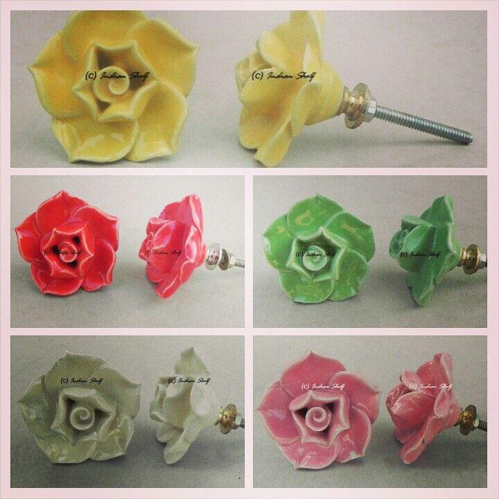 #FlowerShape #CeramicKnobs. Check out complete collection at https://www.indianshelf.com/category/ceramic-flower-shape-knob/. #Shabbychick #CeramicDrawerPull #PorcelainKnobs #RoseKnobs #DecorativeKnobs #VintageKnobs